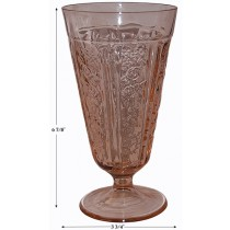 Federal Glass Company Sharon Pink Footed Ice Tea Tumbler