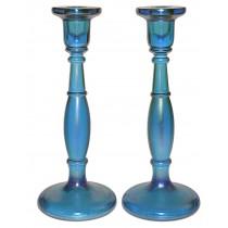 """Fenton Celeste Blue Stretch Glass #649 10"""" Candlesticks"""