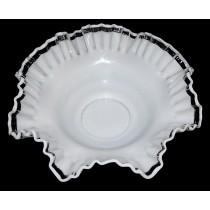 Fenton Crystal Crest Scarce Crimped Bowl
