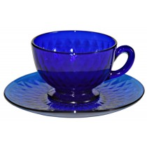 Fenton Royal Blue / Cobalt Diamond Optic #1502 Cup and Saucer