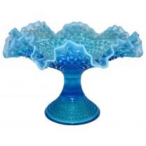 "Fenton Hobnail Blue Opalescent #3923 -12"" Ftd DC Bowl / Compote"