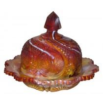 Fenton Ruby Marble  #8680  Regency Covered Butter