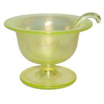 Fenton Topaz / Vaseline Stretch Glass #923 Mayo / Hard to Find Ladle