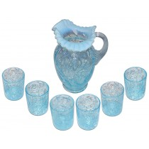 Fenton LG Wright Daisy & Fern Blue Opalescent Tankard Pitcher and 6 Tumblers