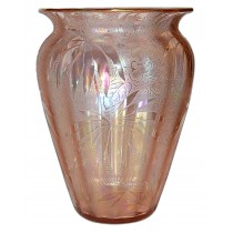 Fostoria Brocade Pink Palm Leaf Etch / Mother of Pearl Iridescent / Gold Edge Vase