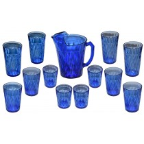Hazel Atlas Diamond Optic / Quilt Cobalt Pitcher and 12 Tumblers (Ice Tea, Water, Juice)