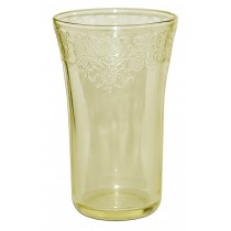 Hazel Atlas Florentine No.2 Yellow Flat Ice Tea Tumbler - Hard to Find
