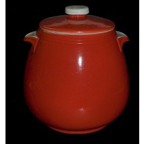 Hall China Chinese Red Tab Handled Bean Pot