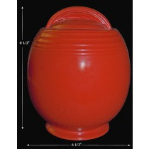 Hall China 5 Band Chinese Red Cookie Jar - GREAT GLAZE! LIST