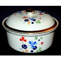 Hall China Golden Clover #70 Round Casserole - GREAT DECALS and GOLD DONE