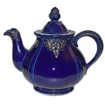 Hall China Thorley Grape Vintage Cobalt and Gold Teapot