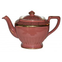 Hall China Hollywood Rose with Standard Gold 4 Cup Teapot