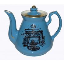 Hall China Philadelphia Blue with Black Hearth Decorated Teapot