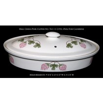 "Hall China ""Pink Clover"" No. 761 - 1 1/2 Pint Oval Fish Casserole"