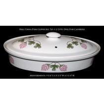 "Hall China ""Pink Clover"" No. 761 - 1 1/2 Pint Oval Fish Casserole"