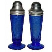 Hazel Atlas Cobalt Royal Lace Salt and Pepper Shaker Set