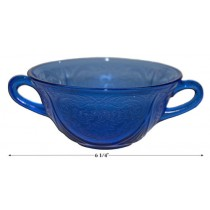 Hazel Atlas Royal Lace Cobalt Cream Soup Bowl