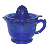 Hazel Atlas Cobalt 2 Piece Reamer with Measuring Cup - Original Depression Glass