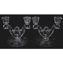Heisey Orchid #1519 Waverly Two Light Candlesticks