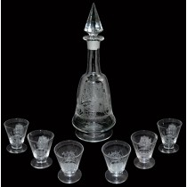 Heisey Tally Ho Footed #4027 Christos Decanter and 6 Footed Cocktail Tumblers