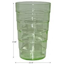"Hocking Green Block Optic 3 5/8"" Juice Tumbler - Uranium Glass"