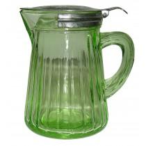 Hocking Green Paneled Vintage Syrup Jug / Pitcher