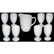 Hocking Hobnail White Milk Glass Pitcher and Tumbler Set