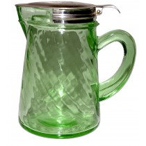 Hocking Glass Company Beautiful Spiral Optic Hard to Find Green Syrup Jug / Pitcher with Metal Lid