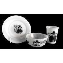 Hazel Atlas White Milk Glass Hopalong Cassidy Child's Plate, Tumbler, with Scarce Bowl