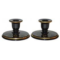 Imperial Black and Gold #39 Depression Candlesticks