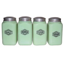 McKee Jadite / Jade-ite No. 15F Set of 4 Shakers - Salt / Pepper/ Sugar & Flour