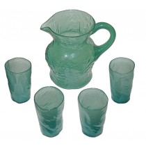 Morgantown #1933 El Mexicano Seaweed (Clambroth Green) Pitcher with #802 Tumblers