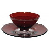Morgantown Spanish Red and Crystal #7730 Finger Bowl and Underplate