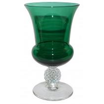 Morgantown #7643 Golf Ball Stiegel Green Vase / Urn with Crystal Foot