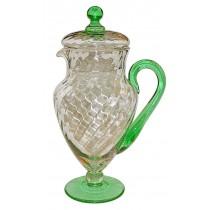 Morgantown Lockard #7585 48 Ounce Venetian Green & Crystal  Spiral Optic Pitcher / Jug with Lid - RARE
