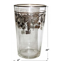 National Silver Sterling Fruits Overlay Rockwell Style Vase - SIGNED STERLING