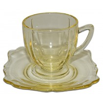 New Martinsville Fancy Squares Topaz / Yellow Demitasse Cup and Saucer