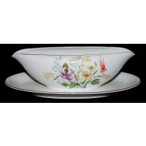 Noritake Mystery #164 Gravy Boat wtith Attached Liner