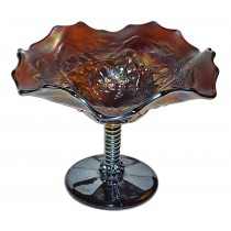 Northwood Blossom Time with Wild Flower Exterior Amethyst Carnival Glass Compote