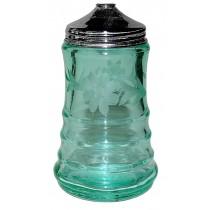 Paden City Blue Green #191 Party Line Green Floral Wheel Cut Depression Glass Sugar Shaker