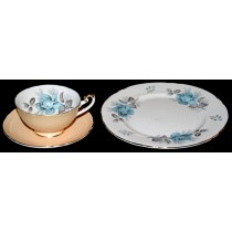 Shelley #14245 Blue Roses Pattern on Lincoln Blank Trio / Plate, Cup and Saucer