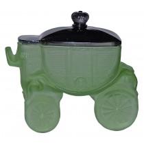 L. E. Smith Cinderella's Coach Green Satin Powder Jar