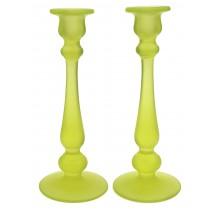 "Tiffin Canary Satin / Vaseline Satin #15319 Candlesticks - 10"" Size"