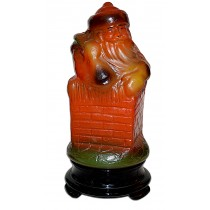 Tiffin Figural #7562 Santa Claus Lamp in Chimney with Black Glass Base