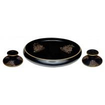 "Tiffin ""Ship"" Black Satin Console Bowl & Candlesticks / Grey & Gold Decoration"