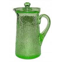 Tiffin / US Glass Green Stippled #6450 Covered Kitchen Ice Tea Jug / PItcher