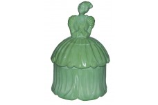 Akro Agate Colonial Lady Green Opaque Powder Jar