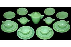 Akro Agate Interior Panel Large Jade Luster / Child's Set With Bowls GREAT COLOR!