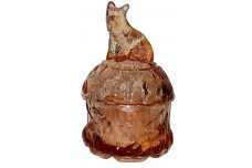 Akro Agate Scotty Dog Pinkish Amber Powder Jar - SCARCELY FOUND COLOR