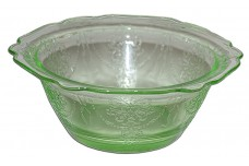 "Belmont Bowknot Green Depression Glass 4/14"" Berry Bowl"
